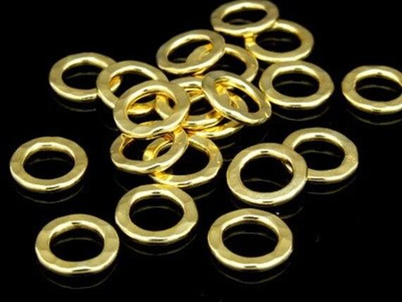 KG-362 thai karen hill tribes silver 10 gold vermeil hammered round hoop