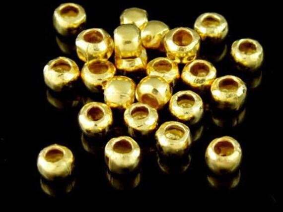 KG-067 thai karen hill tribe silver  20 gold vermeil plain  spacer bead