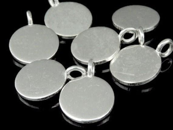 3KH-021 thai karen hill tribe handmade silver 4 plain round disc charm 12mm.