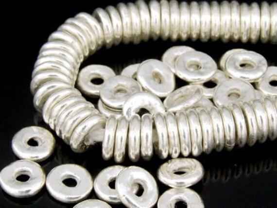 KK-028 thai karen hill tribe silver 20 plain disc spacer bead