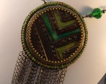 Progress Marches On Bead Embroidered Pendant and Necklace