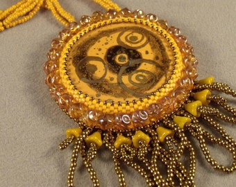 Sun Goddess Bead Embroidered Pendant and Necklace