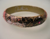 CHARMED-Collage Decoupage Pink and Black  Bracelet Shabby Chic Whimsical High Fashion Wood Bangle with Swarovski Crystals
