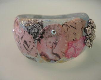 MARIE ANTOINETTE  Collage Decoupage Shabby Chic Fashion Pop Art Resin Bracelet Bangle Cuff w Swarovski Crystals and Rhinestone Medallion