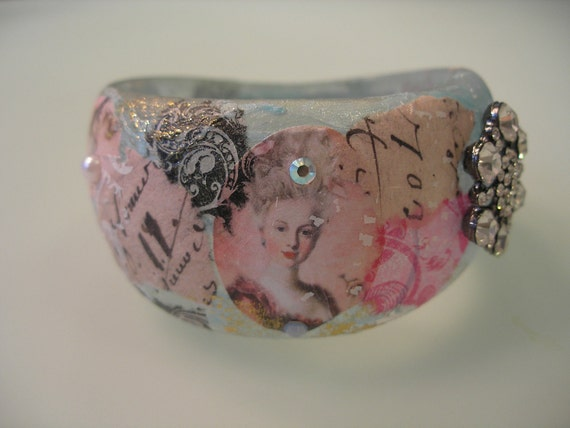 MARIE ANTOINETTE  Collage Decoupage Shabby Chic Fashion Pop Art Resin Bracelet Bangle Cuff w Swarovski Crystals and Rhinestone Medallion