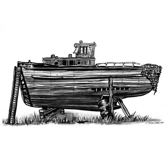 Drydock lithograph print