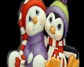 Ceramic Penguin with Snowman