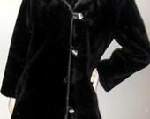 Vintage Black Fur 60s Mod Over Coat