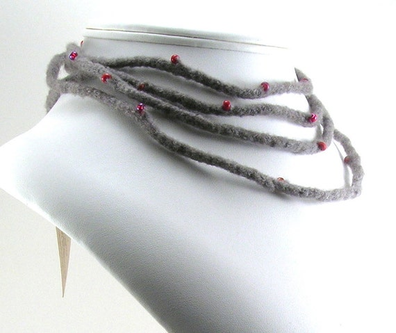 Felted Wool Necklace with Glass Beads - taupe