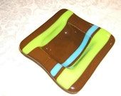 Art Glass Bowl - Fused and Slumped Bowl in Milk Chocolate Brown, Lime Green and Turquoise