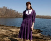 Vintage 70s 80s Calico Prairie Purple Dress with Heart Buttons SM Small Medium
