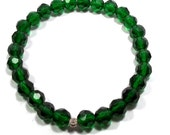 Emerald Crystal Stretch Bracelet Crystal Jewelry Crystal Jewelery Crystal Bracelet Green Bracelet OOAK Jewelry Celestial Crystal BE1847