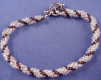 Crystal and Rootbeer Seed Bead Spiral Rope Bracelet Spiral Bracelet Seed Bead Bracelet Seed Bead Jewelry BE1453