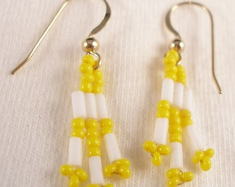 White Bugle and Yellow Seed Bead Dangle Earrings Seed Bead Jewelry Clip On Earing Yellow Earrings White Earrings Clip On Earring