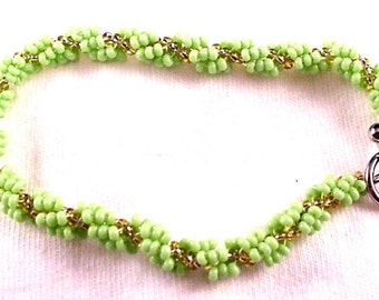 Lime Green and Gold Spiral Rope Seed Bead Bracelet Spiral Bracelet Seed Bead Jewelry Beaded Bracelet BE1426