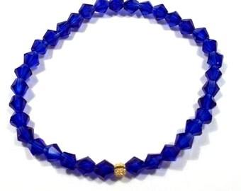 Blue Crystal Diamond Stretch Bracelet Crystal Jewelry Crystal Bracelet BE1887