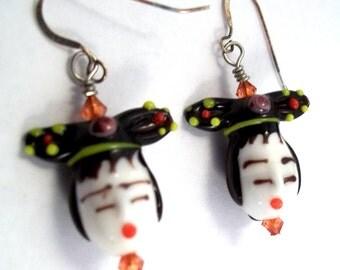 Face Earrings Japanese Earrings Lampwork Jewelry Oriental Earrings Face Jewelry Japanese Geisha Earrings Lampwork Earrings  BE1702