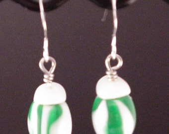 Acrylic Green and White Barrels with White Accent Beaded Earrings Clip On Earings Clip On Earrings Acrylic Earrings Green Earrings BE1399