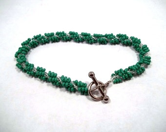 Green and Crystal Seed Bead Spiral Rope Bracelet Spiral Bracelet Seed Bead Jewelry Green Bracelet Rope Bracelet Crystal Bracelet BE1438