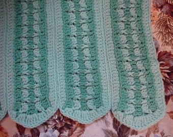Crocheted Greens Full Size Afghan Blanket AF38-81A