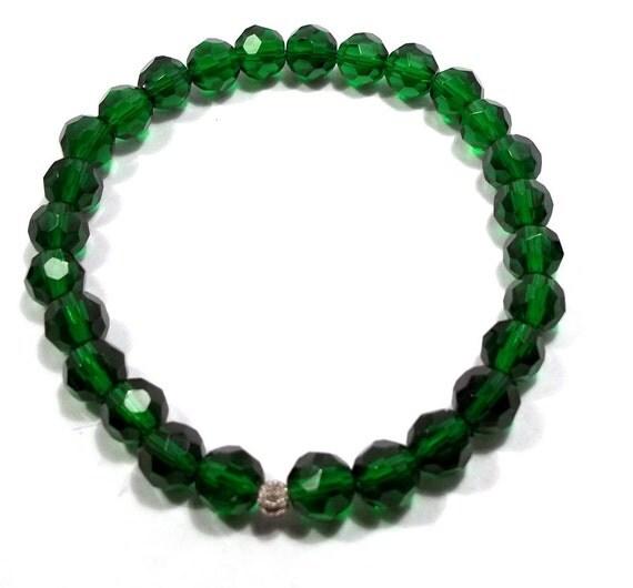 Emerald Crystal Stretch Bracelet Crystal Jewelry Crystal Jewelery Crystal Bracelet Green Bracelet OOAK Jewelry Celestial Crystal BE1847