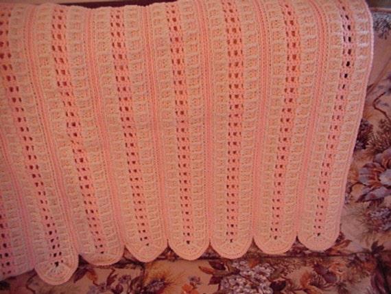 Crocheted Aran and Peach Afghan Full Size Afghan Blanket AF07-10A