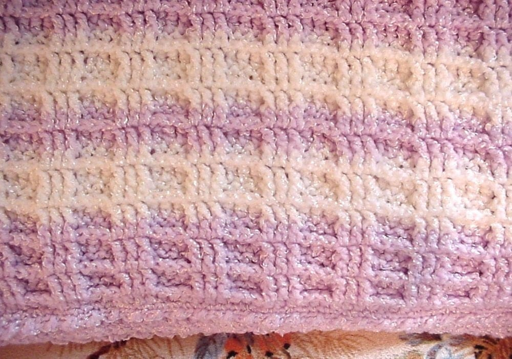 Crocheted Purple and White Waffle Stitch Baby Blanket Afghan