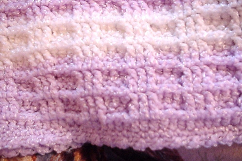 Crocheted Mauve and White Waffle Stitch Baby by handmadebyartie