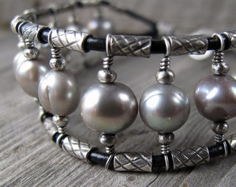 Pearl, Silver and Leather Cuff Bracelet