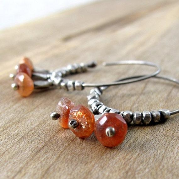 Hammered Silver Hoop Earrings with Sunstone