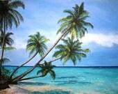 Palm Tree Paradise - Original Acrylic Painting - 18X24