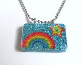 SALE Rainbow and Star Blue Glitter Resin Pendant SALE
