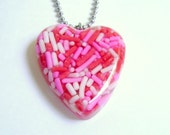 Red Pink White Candy Sprinkles Heart Pendant for Valentine's Day