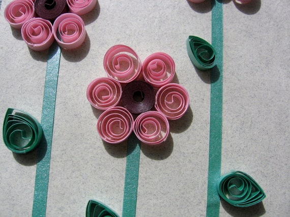 Pink Quilled Flower Gift Bag