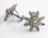 Vintage 1940s Starburst Star Screw Back Rhinestone Earrings DESTASH
