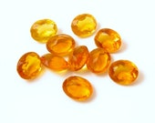 10 10x8mm Honey Citrine Golden Topaz Glass Jewel Lot