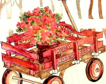 Cards - Red Wagon, set of 4 - FREE Shipping in USA