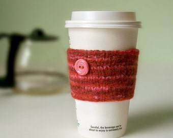Coffee Cuff - Sunset - Knitted & lightly felted cup cozy