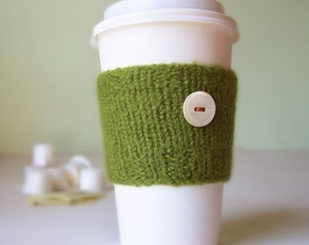 Coffee Cuff - Moss Green - Knitted & lightly felted cup cozy