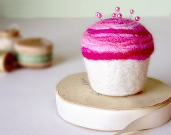 Pincushion - Strawberry Swirl Cupcake, Felted Wool