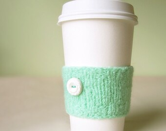 Coffee Cuff - Mint - Knitted & lightly felted cup cozy