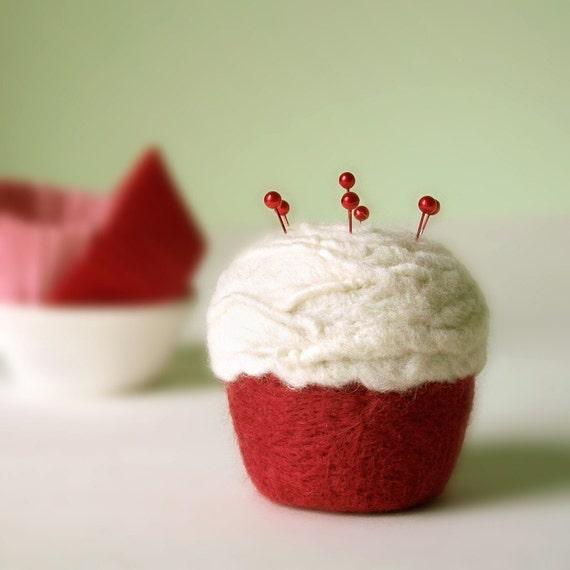 Pincushion - Felted Cupcake, Red Velvet
