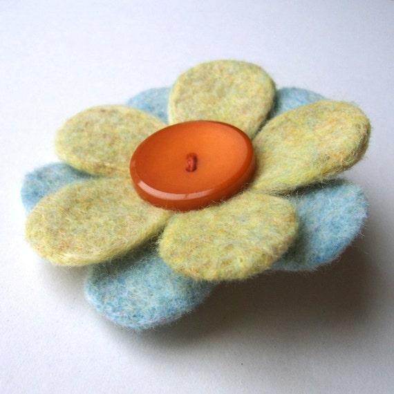 Pin - Felt Flower, Lime, Light Blue and Orange