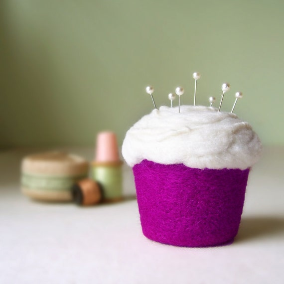 Cupcake Pincushion - Felted Wool, Berry Electric