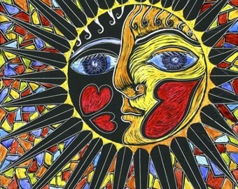 Mandala Sunface with Hearts