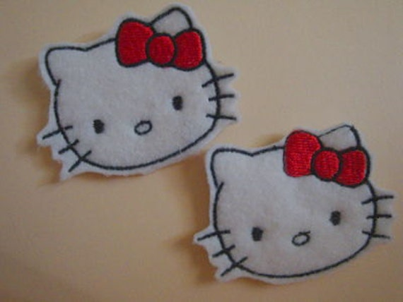 Hello Kitty Hair Clips Felties with red bow