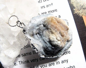 Calico, Rock Quartz Crystal Druzy Pendant