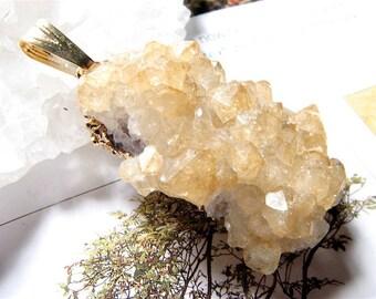 Asrai, Citrine Rock Quartz Crystal Druzy Pendant
