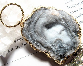 Myst, HUGE-Rock Quartz Crystal Druzy Pendant