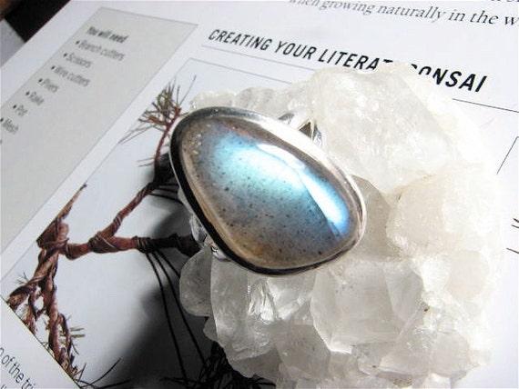 Labradorite Blue Flash Ring, Size 7